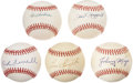 Autographs:Baseballs, Baseball Hall of Fame Single Signed Baseballs Lot of 5. ... (Total:5 items)