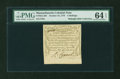 Colonial Notes:Massachusetts, Massachusetts October 16, 1778 4s PMG Choice Uncirculated 64EPQ....