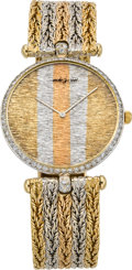 Timepieces:Wristwatch, Bueche Girod Gents Tri-color Gold & Diamond Wristwatch, circa1980. ...
