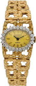 Timepieces:Wristwatch, Swiss Lady's Diamond Bezel Gold Bracelet Watch, circa 1970's. ...