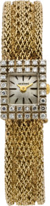 Timepieces:Wristwatch, Lucerne Lady's Gold & Diamond Wristwatch, circa 1965. ...