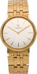 Timepieces:Wristwatch, Tissot Men's Wristwatch with Gold Band, circa 1960. ...