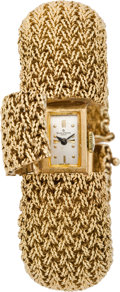 Timepieces:Wristwatch, Baume & Mercier Lady's Gold Bracelet Watch, circa 1975. ...