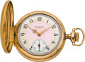 Timepieces:Pocket (post 1900), Elgin Lady's Fancy Dial Gold Hunters Case, circa 1910. ...