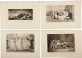 Antiques:Posters & Prints, Exceptional Group of Four Engraved Illustrations of Women inRepose.... (Total: 4 Items)