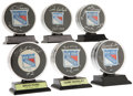 Hockey Collectibles:Others, New York Rangers Hall of Famers Signed Pucks Lot of 6. ... (Total: 6 items)