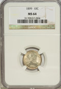 Barber Dimes: , 1899 10C MS64 NGC. NGC Census: (83/50). PCGS Population (82/42).Mintage: 19,580,846. Numismedia Wsl. Price for NGC/PCGS co...