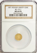 California Fractional Gold: , 1871 50C Liberty Round 50 Cents, BG-1011, R.2, MS64 Prooflike NGC.NGC Census: (2/8). (#710840)...