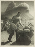 Fine Art - Work on Paper:Print, GRANT WOOD (American, 1891-1942). Approaching Storm, 1940.Lithograph on paper. 15-1/2 x 11-1/2 inches (39.4 x 29.2 cm) ...