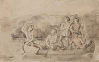 CHARLES FERDINAND WIMAR (American, 1828-1862) Canoe Scene Charcoal on paper 13 x 20-1/2 inches (3