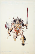 Original Comic Art:Covers, Val Mayerik Conan Annual #8 Cover Original Art (Marvel,1983)....