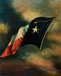 Western, HARCO SCHUTTER (Dutch/American, 1864-1931). Flag of Texas,1918. Oil on canvas. 27 x 22 inches (68.6 x 55.9 cm). Signed ...