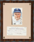 Autographs:Checks, Earle Combs Signed Check. ...