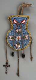 Other, AN EASTERN SIOUX PICTORIAL BEADED HIDE POUCH. c. 1900...