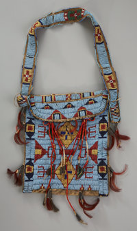 A SIOUX BEADED HIDE SIDE BAG c. 1890