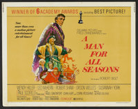 "A Man For All Seasons (Columbia, R-1972). Half Sheet (22"" X 28""). Drama"