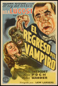 "Movie Posters:Horror, The Return of the Vampire (Columbia, 1944). Argentinean Poster (29""X 43""). Horror.. ..."