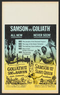 "Movie Posters:Adventure, Goliath and the Sins of Babylon/Samson and the Slave Queen Combo(American International, 1964). Benton Window Card (14"" X 2..."
