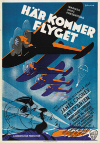 """Devil Dogs of the Air (Warner Brothers, 1935). Swedish One Sheet (27.5"""" X 39.5"""")"""