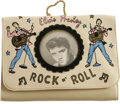 "Music Memorabilia:Memorabilia, Elvis Presley Vintage Wallet With Photo. A vintage beige vinylwallet with Elvis design motif and a clear ""window"" featuring..."
