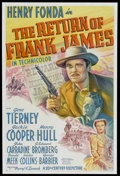 "Movie Posters:Western, The Return of Frank James (20th Century Fox, 1940). One Sheet (27""X 41""). Western. Starring Henry Fonda, Gene Tierney, Jack..."