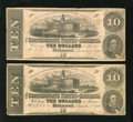 Confederate Notes:1862 Issues, T52 $10 1862 Two Examples.. ... (Total: 2)