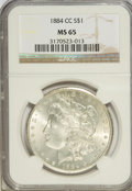 1884-CC $1 MS65 NGC. NGC Census: (3546/773). PCGS Population (6319/1375). Mintage: 1,136,000. Numismedia Wsl. Price for...