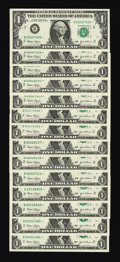 Fr. 1928-B* $1 2003 Federal Reserve Notes. Fourteen Examples. Very Choice Crisp Uncirculated
