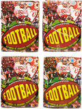 Football Cards:Boxes & Cases, 1977 Topps Mexican Football Display Box Quartet (4)....