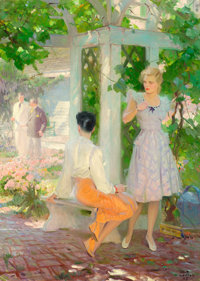 TOM LOVELL (American, 1909-1997) In the Garden, 1942 Oil on canvas 38.5 x 28 in. Signed lower
