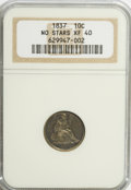 Seated Dimes: , 1837 10C No Stars, Large Date XF40 NGC. NGC Census: (12/286). PCGSPopulation (30/280). Mintage: 682,500. Numismedia Wsl. P...