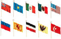 Non-Sport Cards:Sets, Circa 1908 P31 National Flags Celluloid Pins Partial Set (48/70)....