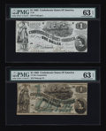 Confederate Notes:1862 Issues, T44 $1 1862 PMG Choice Uncirculated 63 EPQ. CT45 $1 1862 PMG ChoiceUncirculated 63 EPQ.. ... (Total: 2 notes)