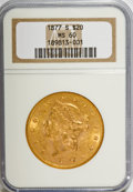 Liberty Double Eagles, 1877-S $20 MS60 NGC. NGC Census: (341/708). PCGS Population(214/515). Mintage: 1,735,000. Numismedia Wsl. Price for NGC/PC...