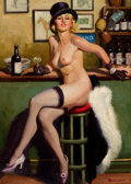 Pin-up and Glamour Art, WILLIAM REUSSWIG (American, 1902-1978). Dutch Treat Clubillustration, c. 1930. Oil on canvas. 28 x 20 in.. Signedlower...