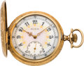 Timepieces:Pocket (post 1900), Elgin Fancy Dial Gent's Gold Hunter Case, circa 1910. ...