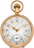 Timepieces:Pocket (post 1900), Elgin Fancy Dial Heavy 18 Size Gold Pocket Watch, circa 1928. ...