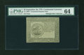 Colonial Notes:Continental Congress Issues, Continental Currency September 26, 1778 $5 Blue CounterfeitDetector PMG Choice Uncirculated 64....