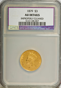 1879 $3 --Improperly Cleaned--NCS. AU Details. NGC Census: (3/334). PCGS Population (7/448). Mintage: 3,000. Numismedia...