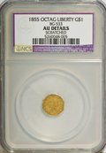 California Fractional Gold: , 1855 $1 Liberty Octagonal 1 Dollar, BG-533, LowR.4,--Scratched--NCS. AU Details. NGC Census: (0/10). PCGSPopulation (6/88...
