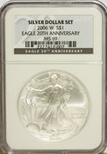 Modern Bullion Coins, 2006-W $1 20th Anniversary Silver Eagle MS69 NGC. NGC Census:(0/0). PCGS Population (10775/209). Numismedia Wsl. Price fo...