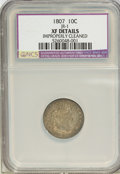 Early Dimes, 1807 10C --Improperly Cleaned--NCS. XF Details. JR-1. Mintage:165,000. (#4480)...