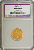 Three Dollar Gold Pieces: , 1878 $3 --Damaged--NCS. XF Details. NGC Census: (16/4764). PCGS Population (42/5004). Mintage: 82,304. Numismedia Wsl. Price...