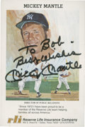 Autographs:Post Cards, Mickey Mantle Signed Postcard. ...