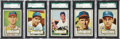Baseball Cards:Lots, 1952 Topps Baseball SGC 88 NM/MT 8 Collection (5 Different)....