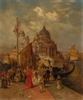 Fine Art - Painting, American:Modern  (1900 1949)  , EDWARD PERCY MORAN (American, 1862-1935). Venetian HarborScene. Oil on canvas. 12 x 10 inches (30.5 x 25.4 cm). Signed...