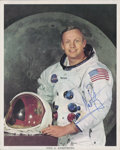 Autographs:Celebrities, Neil Armstrong Signed White Spacesuit Color Photo, Uninscribed....