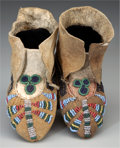 American Indian Art:Beadwork and Quillwork, A PAIR OF CREE CHILD'S BEADED HIDE MOCCASINS. c. 1880... (Total: 2Items)