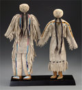 American Indian Art:Beadwork and Quillwork, A PAIR OF CROW BEADED HIDE DOLLS. c. 1895...