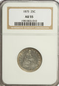 Seated Quarters: , 1875 25C AU55 NGC. NGC Census: (7/231). PCGS Population (18/221).Mintage: 4,293,500. Numismedia Wsl. Price for NGC/PCGS co...